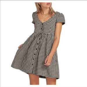 Volcom Baby Doll Button Gingham Dress sz XL